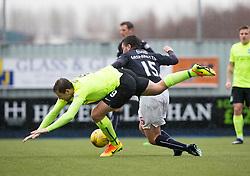 Hibernian's Grant Holt and Falkirk's Luca Gasparotto. Falkirk 1 v 2 Hibernian, Scottish Championship game played 31/12/2016 at The Falkirk Stadium .