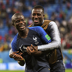Ngolo Kante and Benjamin Mendy of France celebrate the victory during the Semi Final FIFA World Cup match between France and Belgium at Krestovsky Stadium on July 10, 2018 in Saint Petersburg, Russia. (Photo by Anthony Dibon/Icon Sport)