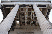ATHENS, GREECE - APRIL 17 : A view from below of the North porch of the Erechtheum, on April 17, 2007, in Athens, Greece. The Erechtheum was built on the Acropolis, between 421 and 405 BC, in the Ionic Order. (Photo by Manuel Cohen)