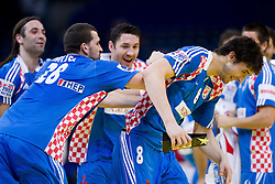Ivano Balic of Croatia, Zeljko Musa of Croatia, Blazenko Lackovic of Croatia and Marko Kopljar of Croatia  celebrate after the handball match between Croatia and Spain for 3rd place game at 10th EHF European Handball Championship Serbia 2012, on January 29, 2012 in Beogradska Arena, Belgrade, Serbia.  Croatia defeated Spain 31-27 and won 3rd place. (Photo By Vid Ponikvar / Sportida.com)