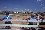 Boys play baseball at the former Nichol Mine Amish School, Lancaster Pennsylvania.