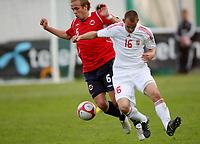 Fotball <br /> Privatlandskamp  U21 menn<br /> Friendly International U 21 Match<br /> Briskeby Gressbane <br /> 28.05.2010<br /> Norge v Ungarn<br /> Norway v Hungary 2-1<br /> Foto: Dagfinn Limoseth, Digitalsport<br /> Christer Kleiven , Norway  og  Ádám Simon , Hungary