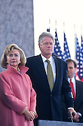 President Bill Clinton and First Lady Hillary at the dedication ceremony of the FDR Memorial May 2, 1997 in Washington, DC. The memorial to the US 32nd president spreads across four granite-walled outdoor rooms along a 7.5 acre-swath of West Potomac Park.