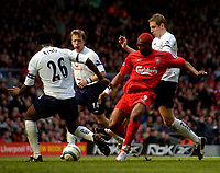 Photo. Jed Wee, Digitalsport<br /> Liverpool v Tottenham Hotspurs, Barclays Premiership, 16/04/2005.<br /> Liverpool's Djibril Cisse makes his first home appearance following his lengthy layoff with a broken leg as he tries to trouble the Spurs defence.