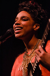 "© Licensed to London News Pictures. 12/03/2013. London, UK.   Lianne La Havas performing live at O2 Shepherds Bush Empire. Lianne La Havas is an English folk and soul singer, songwriter and multi-instrumentalist. She was nominated for the BBC's Sound of 2012 poll, and her debut album ""Is Your Love Big Enough"" was later both nominated for a 2012 Mercury Prize in the Albums of the Year category and named iTunes Album of the Year.    Photo credit : Richard Isaac/LNP"