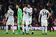 Phil Jones (4) of Manchester United embraces Chris Smalling (12) of Manchester United at full time after a 2-0 win over Bournemouth during the Premier League match between Bournemouth and Manchester United at the Vitality Stadium, Bournemouth, England on 18 April 2018. Picture by Graham Hunt.