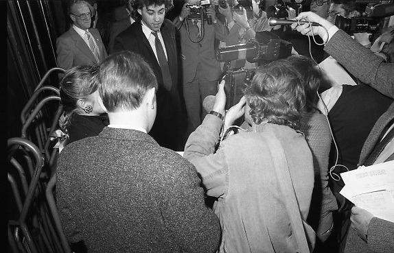 Bob Geldof Receives F.A.O.Medal..1986..16.10.1986..10.16.1986..16th October 1986..The highlight of Gorta's 21st anniversary World Food Day was the presentation of an F.A.O.(Food and Agriculture Organisation of the United Nations) to Bob Geldof. The medal was presented by An Taoiseach,Dr Garret Fitzgerald. The medal was in recognition of Bob's efforts and contribution towards famine relief in the Third World. The ceremony took place in The Berkeley Court Hotel in Dublin...Picture of Bob having a few words with the assembled media.
