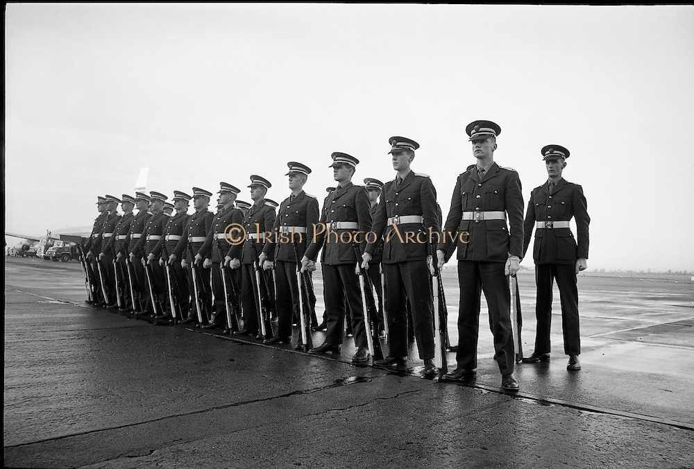 The twenty-six Irish Army Cadets who formed the guard of honour at President Kennedy's funeral return home. Kennedy had been so impressed by the cadets' precision drill at the wreath-laying ceremony in Arbour Hill on his visit to Ireland that he spoke of it often back in Washington, and his widow, Jackie Kennedy, made a special request to have the cadets involved in his funeral..27.11.1963