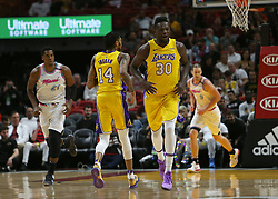 March 1, 2018 - Miami, FL, USA - The Los Angeles Lakers' Julius Randle (30) reacts after scoring during the first quarter against the Miami Heat at the AmericanAirlines Arena in Miami on Thursday, March 1, 2018. The Lakers won, 131-113. (Credit Image: © David Santiago/TNS via ZUMA Wire)