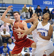 Bristol's Parker Kelley (3) and Bensalem's Nadir Smith (30) fight for a rebound in the first quarter Tuesday December 27, 2016 at Bensalem High School in Bensalem, Pennsylvania. (Photo by William Thomas Cain)