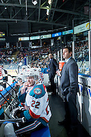 KELOWNA, CANADA - JANUARY 16: Chance Braid #22 of Kelowna Rockets sits on the bench against the Seattle Thunderbirds on January 16, 2015 at Prospera Place in Kelowna, British Columbia, Canada.  (Photo by Marissa Baecker/Shoot the Breeze)  *** Local Caption *** Chance Braid;
