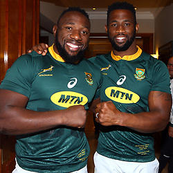 Tendai Mtawarira with Siya Kolisi (captain) of South Africa during the South African Springbok team photo, <br /> at the The Cullinan Hotel in Cape Town.South Africa. 22,06,2018 22,06,2018 Photo by (Steve Haag JMP)