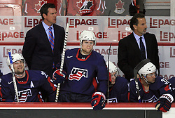 American team (back right Head coach of USA John Tortorella) at ice-hockey match USA vs Slovenia at Preliminary Round (group B) of IIHF WC 2008 in Halifax, on May 04, 2008 in Metro Center, Halifax, Nova Scotia, Canada. (Photo by Vid Ponikvar / Sportal Images)