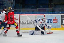 23.02.2018, Ice Rink, Znojmo, CZE, EBEL, HC Orli Znojmo vs Fehervar AV 19, Qualifikationsrunde, im Bild v.l. Antonin Manavian (Fehervar AV19) Antonin Boruta (HC Orli Znojmo) MacMillan Carruth (Fehervar AV19) // during the Erste Bank Icehockey League qualification round match between HC Orli Znojmo and Fehervar AV 19 at the Ice Rink in Znojmo, Czech Republic on 2018/02/23. EXPA Pictures © 2018, PhotoCredit: EXPA/ Rostislav Pfeffer