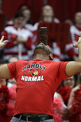 14 February 2016: Matt Coates attempts to stack 6 Hostess Ding Dongs on his forehead during the Illinois State Redbirds v Bradley Braves at Redbird Arena in Normal Illinois (Photo by Alan Look)