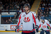 KELOWNA, CANADA - OCTOBER 16: Giorgio Estephan #29 of the Lethbridge Hurricanes stands on the ice against the Kelowna Rockets on October 16, 2013 at Prospera Place in Kelowna, British Columbia, Canada.   (Photo by Marissa Baecker/Shoot the Breeze)  ***  Local Caption  ***