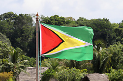 The flag of Guyana flies in Sumara Village in the Guyana Hinterland on day 13 of an official visit by Prince Harry to the Caribbean.