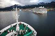 Port of Ushuaia, southernmost city in the world. Tierra del Fuego, Argentina. Docking of The Scandinavian-built ice-breaker Akademik Sergey Vavilov, originally built for the Russian Academy of Science and still used occasionally by scientists, is now predominantly used for adventure touring in both the Arctic and the Antarctic. The ship is currently operated by a Russian crew, and staffed with employees of the adventure touring company Quark Expeditions, and carries around 100 passengers at a time.