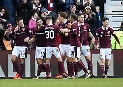 Hearts David Milinkovic (second left) celebrates with his team mates after scoring his side's third goal of the game during the Ladbrokes Scottish Premiership match at Tynecastle Stadium, Edinburgh. PRESS ASSOCIATION Photo. Picture date: Sunday December 17, 2017. See PA story SOCCER Hearts. Photo credit should read: Ian Rutherford/PA Wire. EDITORIAL USE ONLY