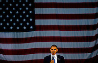 KAUKAUNA, WI - JUNE 12:Presidential candidate, Senator Barack Obama (D-Ill) speak to supporters at a town hall meeting at Kaukauna High School June 12, 2008 Kaukauna Wis. During this stop in Wisconsin Barack concentrated on talking about his plans for health care and tax reform which he says are greatly different from his opponent Senator John McCain (R-Arz).  (Photo by Darren Hauck/Getty Images)
