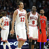 24 March 2012: Chicago Bulls center Joakim Noah (13) looks dejected as he is ejected from the game during the Chicago Bulls 102-101 victory in overtime over the Toronto Raptors at the United Center, Chicago, Illinois, USA.
