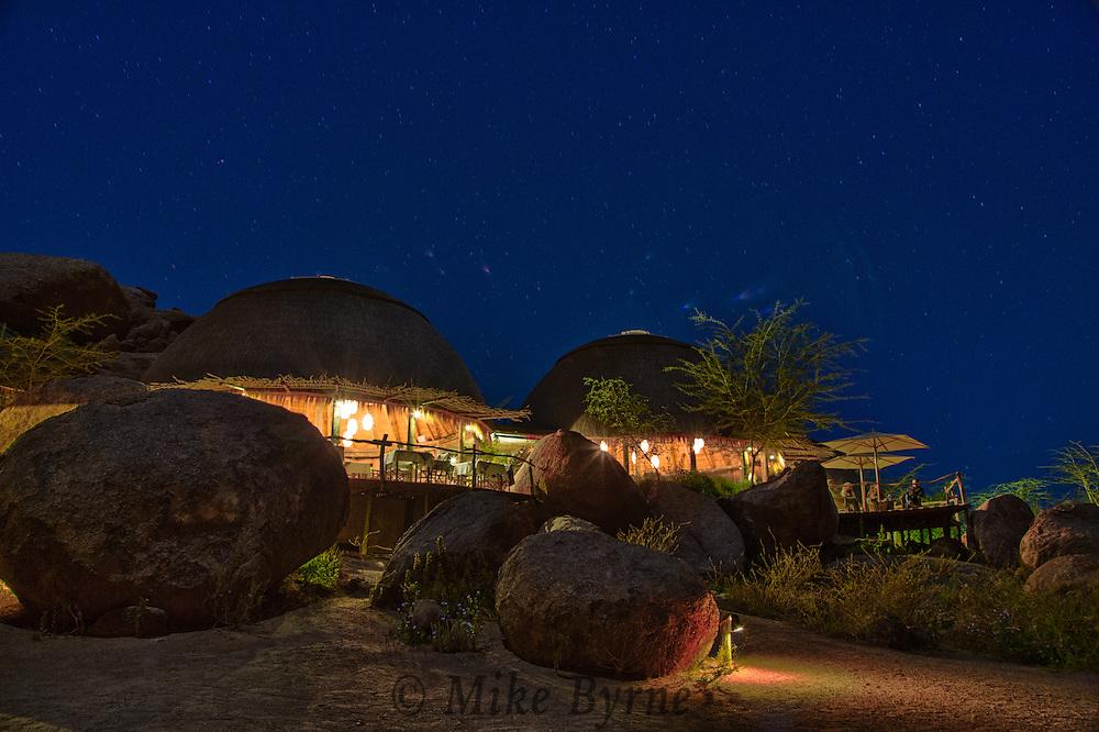 Night photography of Camp Kipwe, Damaraland, Namibia.
