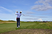 Brandon Wu (USA) plays from the top of a bunker on the 12th hole during the Sunday Foursomes in the Walker Cup at the Royal Liverpool Golf Club, Sunday, Sept 8, 2019, in Hoylake, United Kingdom. (Steve Flynn/Image of Sport)