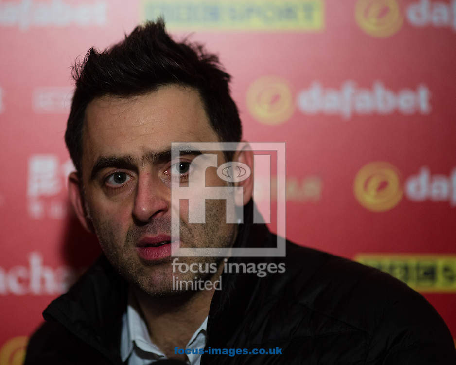 Ronnie O'Sullivan after his 6-4 victory against Marco Fu during the semi-finals of the Dafabet Snooker Masters 2017 at Alexandra Palace, London<br /> Picture by Mark Chappell/Focus Images Ltd +44 77927 63340<br /> 21/01/2017
