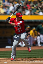 OAKLAND, CA - APRIL 13:  Mike Trout #27 of the Los Angeles Angels of Anaheim at bat wearing black and gold Nike Batting gloves in honor of Kobe Bryant's retirement during the first inning against the Oakland Athletics at the Coliseum on April 13, 2016 in Oakland, California. (Photo by Jason O. Watson/Getty Images) *** Local Caption *** Mike Trout
