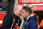 Shrewsbury Town manager Paul Hurst and Walsall manager Jon Whitney during the EFL Sky Bet League 1 match between Walsall and Shrewsbury Town at the Banks's Stadium, Walsall, England on 7 October 2017. Photo by John Potts.