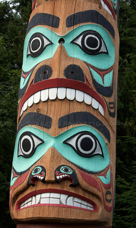 Totems of Southeast Alaska in summertime