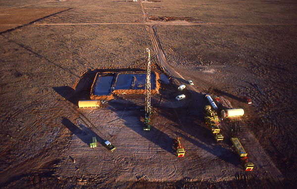 Stock photo of the aerial view of a land based drilling operation
