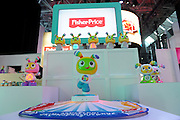 Beatbo sits atop the Bright Beats Learnin' Lights Dance Mat at the New York Toy Fair, Friday, Feb. 12, 2016.  The Dance Mat is an interactive, soft dance mat for baby with light effects and music. (Photo by Diane Bondareff/AP Images for Mattel)