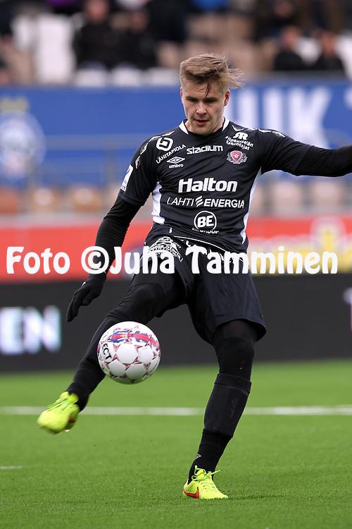 19.4.2015, Sonera stadion, Helsinki.<br /> Veikkausliiga 2015.<br /> Helsingin Jalkapalloklubi - FC Lahti..<br /> Henri Toivom&auml;ki - FC Lahti