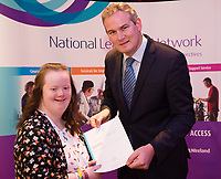 Sean Kyne TD Minister of State for Community Affairs, Natural Resources and Digital Development, presenting certificate to  Ciara Ryan QQI level 2 in  Health Related Exercise. Photo:Andrew Downes, xposure .