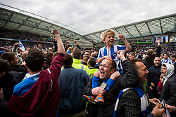 Brighton & Hove Albion fans celebrate after the match Brighton & Hove Albion players celebrate after the match - Mandatory by-line: Jason Brown/JMP - 17/04/2017 - FOOTBALL - Amex Stadium - Brighton, England - Brighton and Hove Albion v Wigan Athletic - Sky Bet Championship