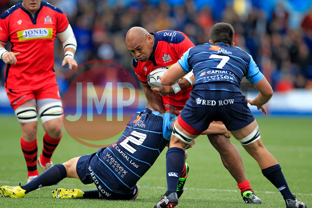 Soane Tonga'uiha of Bristol Rugby (C) in action with Kirby Myhill (L) and Ellis Jenkins (capt) of Cardiff Blues - Mandatory by-line: Ian Smith/JMP - 20/08/2016 - RUGBY - BT Sport Cardiff Arms Park - Cardiff, Wales - Cardiff Blues v Bristol Rugby - Pre-season friendly