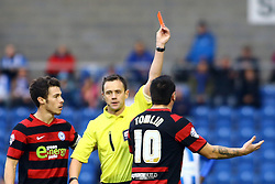 Peterborough United's Lee Tomlin is shown a straight red card by match referee Mr Stuart Attwell for an off the ball incident - Photo mandatory by-line: Joe Dent/JMP - Tel: Mobile: 07966 386802 26/10/2013 - SPORT - FOOTBALL - Colchester Community Stadium - Colchester - Colchester United v Peterborough United - Sky Bet League One
