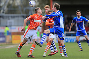 Callum Camps,& Joe Bunney of Rochdale Craig McAlister & Luke Higham of Blackpool during the Sky Bet League 1 match between Rochdale and Blackpool at Spotland, Rochdale, England on 16 April 2016. Photo by Daniel Youngs.