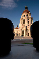 Sculpture of Mack and Jackie Robinson Brothers Looking at Pasadena City Hall, Pasadena, California