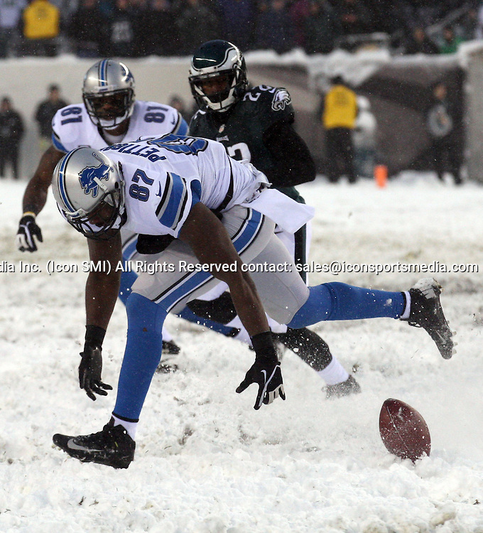 Dec. 8, 2013 - Philadelphia, PA, USA - Detroit Lions' Brandon Pettigrew tries to catch a pass late in the fourth quarter against the Philadelphia Eagles at Lincoln Financial Field in Philadelphia on Sunday, Dec. 8, 2013. The Eagles won, 34-20