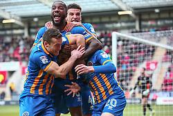 Shrewsbury Town players celebrate after opening the scoring against Rotherham United - Mandatory by-line: Ryan Crockett/JMP - 18/11/2017 - FOOTBALL - Aesseal New York Stadium - Rotherham, England - Rotherham United v Shrewsbury Town - Sky Bet League One