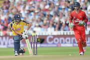 Chris Wood is bowled during the NatWest T20 Blast Semi Final match between Hampshire County Cricket Club and Lancashire County Cricket Club at Edgbaston, Birmingham, United Kingdom on 29 August 2015. Photo by David Vokes.