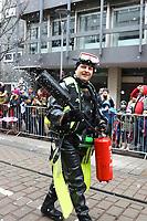 Ludwigshafen. 11.02.18 | <br /> 66. Traditioneller Fasnachtsumzug Mannheim-Ludwigshafen. Diesmal in Ludwigshafen.<br /> - Berufsfeuerwehr Ludwigshafen. 100 Jahre BF LU mit Handl&ouml;schkarre, Drehleiter, Firepocket, Fu&szlig;gruppe<br /> Bild: Markus Prosswitz 11FEB18 / masterpress (Bild ist honorarpflichtig - No Model Release!) <br /> BILD- ID 04370 |