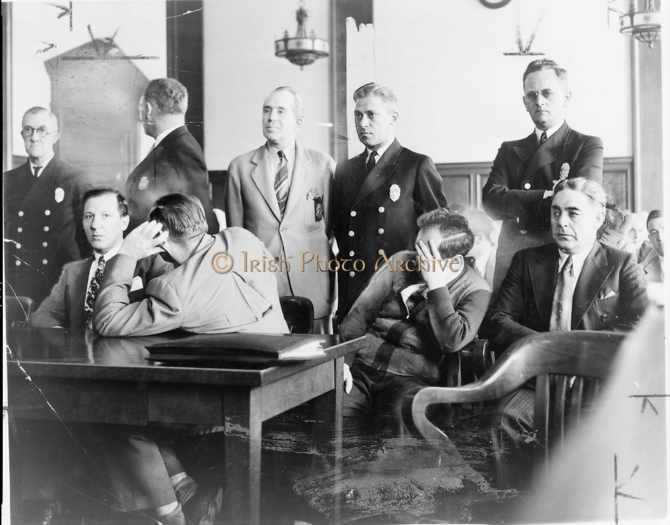 Organised crime, New York. Seated from left, Louis Buchalter, Emanuel Weiss, Phillip Cohen and Louis Capone, members of  Murder Inc., in 1941 in Kings County Courtroom during jury selection for their trial for the murder of Joseph Cohen .
