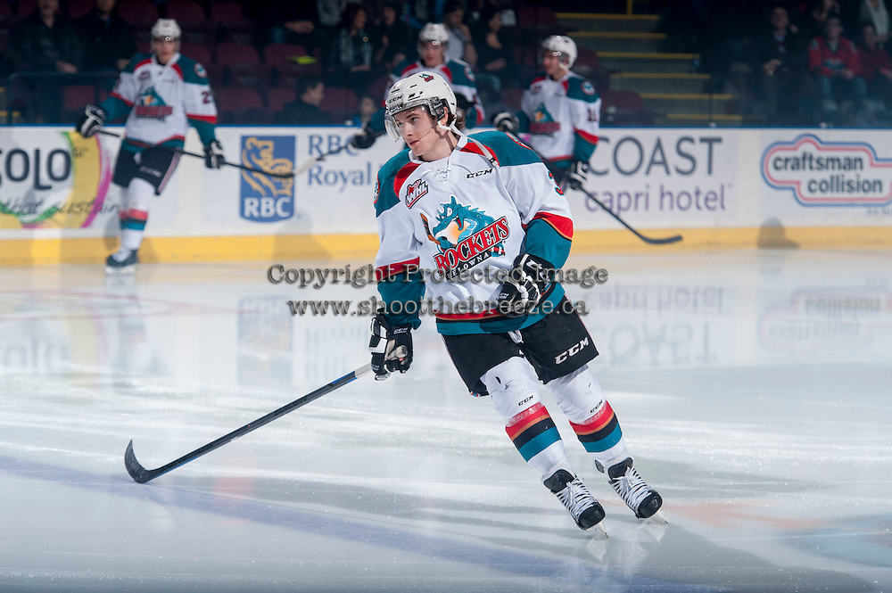 KELOWNA, CANADA - JANUARY 23: Riley Stadel #3 of Kelowna Rockets warms up against the Everett Silvertips on January 23, 2015 at Prospera Place in Kelowna, British Columbia, Canada.  (Photo by Marissa Baecker/Shoot the Breeze)  *** Local Caption *** Riley Stadel;