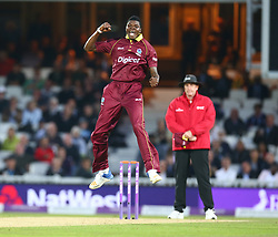September 27, 2017 - London, England, United Kingdom - Alzarri Joseph of West Indies celebrates the catch of England's Joe Root  by Shai Hope of West Indies .during 4th Royal London One Day International Series match between England and West Indies at The Kia Oval, London  on 27 Sept , 2017  (Credit Image: © Kieran Galvin/NurPhoto via ZUMA Press)