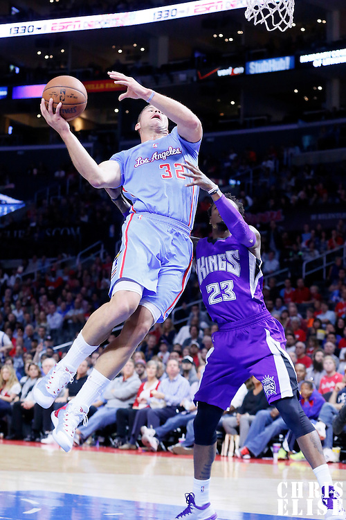 02 November 2014: Los Angeles Clippers forward Blake Griffin (32) is fouled by Sacramento Kings guard Ben McLemore (23) during the Sacramento Kings 98-92 victory over the Los Angeles Clippers, at the Staples Center, Los Angeles, California, USA.