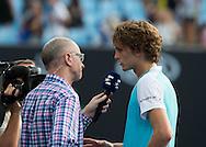 ALEXANDER ZVEREV (GER) im Eurosport Interview mit Matthias Stach<br /> <br /> <br /> Australian Open 2017 -  Melbourne  Park - Melbourne - Victoria - Australia  - 19/01/2017.