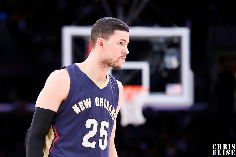 07 December 2014: New Orleans Pelicans guard Austin Rivers (25) is seen during the New Orleans Pelicans 104-87 victory over the Los Angeles Lakers, at the Staples Center, Los Angeles, California, USA.